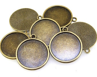 8pcs Antique Bronze Filigree Circle Pendant Base Smooth Pad Base Findings base fit 20mm gemstone beads,Cabochon Base Jewelry Fitting