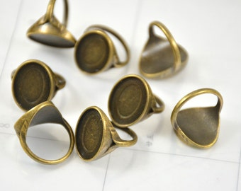 10pcs of  Antique Bronze Ring Oval Trays- Bezel Ring Base Supplies Base fit 18mmx13mm Oval Cabochon Base Ring Blanks Oval Pad