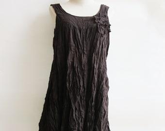 D23, Dark Brown Maternity Summer Spring Cotton Dress