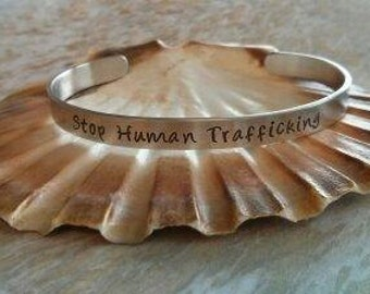 Human Trafficking Awareness Stop Abuse Metal Bracelet Cuff Jewelry Accessory Uniquely Impressed
