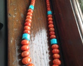 Coral and Turquoise Necklace, all natural stone with sterling clasp
