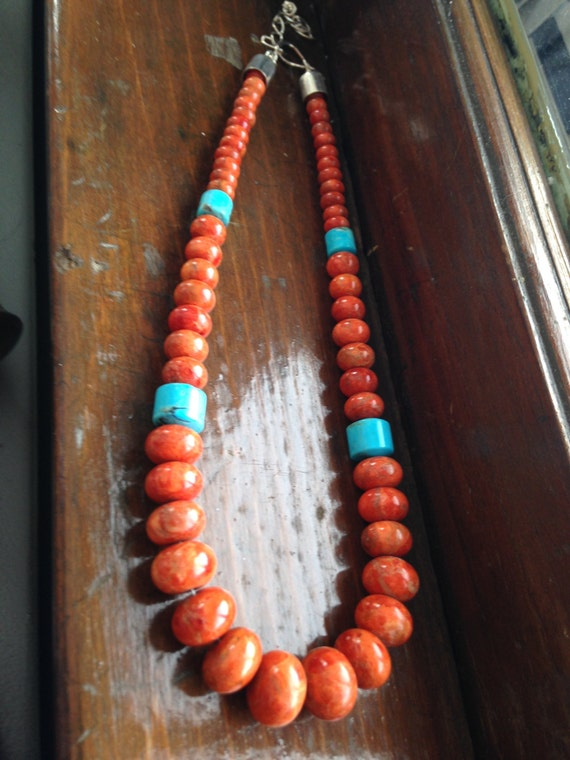 Coral And Turquoise Necklace All Natural Stone With Sterling