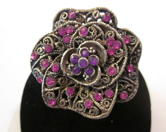 A Rose By Any Other Name - Vintage Silver Tone Brooch with Pink & Purple Rhinestones