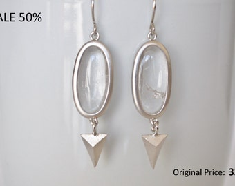 ON SALE Rhodium plated clear Glass and triangle Earrings