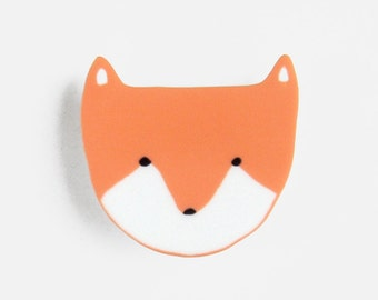 Fox Cub Brooch - pin badge laser cut acrylic animal bright orange neon wolf mothers day birthday gift Christmas stocking filler