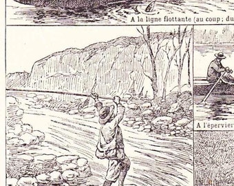 Beautiful Antique Print Encylopedia Page 1920s Engraved iIlustrations Fishing Angling fishermen paper projects scrapbooking, collage