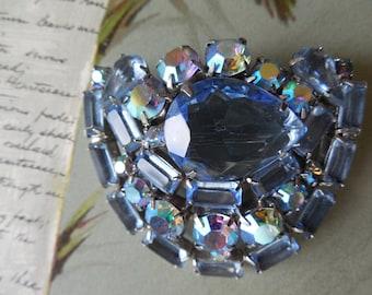 JULIANA Blue Rhinestone Brooch & Earrings Set
