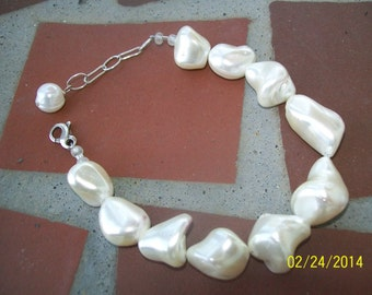 Chunky White Freshwater Pearl and Sterling Silver Bracelet