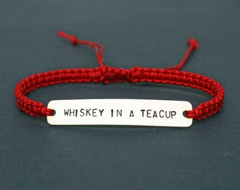 Whiskey In A Teacup Sterling Silver or Brass and Macramé Bracelet, Choice Of Colours Available