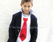 Be Mine Personalized Valentine's Day  Boy Tie Tee T-Shirt.  Choose Red, Black, Damask, Hounds Tooth, Argyle.