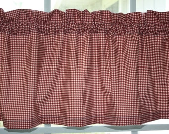 Valance Waverly Red and Off White Checks Country Fair Crimson Red with Lining