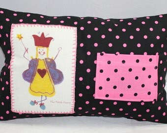 Pillow Pink Polka Dots Tooth Fairy Pillow with Pocket.