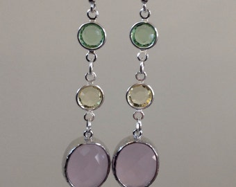 Dangle Earrings / Multicolored pastel earrings / preppy drop earrings/ Bridesmaids gifts / Unique pink,yellow and green earrings