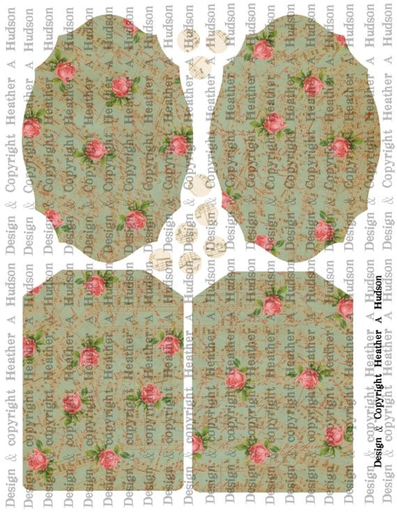 Romantic Roses Blue Green Victorian Vintage Valentine's Day Fancy Tag Digital Collage sheet Printable