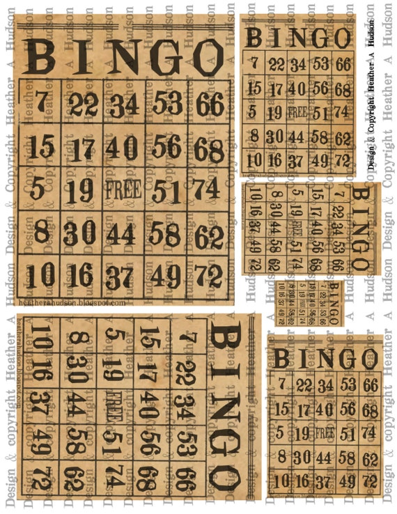 Vintage Natural Bingo cards Digital Collage sheet Printable