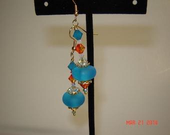 Blue/Fire Opal/Carribbean Blue/White Opal Lampwork Earrings,Crystal Earrings,Frosted Earrings,SRA Beads,#138