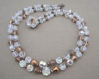 Crystal Bead Necklace double strand aurora borealis vintage crystals wedding jewelry prom evening