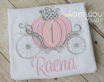 Pink Cinderella Carriage Princess Birthday Toddler Tee Shirt - First Birthday or ANY AGE - Princess Party