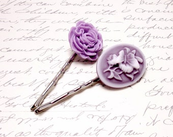 Victorian Cameo and Rose Hair Accessories. Purple Rose Pink Hair Pins. Purple Flower Hair Clips. Victorian Hair Barrettes.