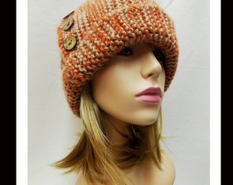 Women's Handmade Knitted Cloche Hat-29 Women, Handmade,  Cloche, Embellished, accessories, Clothing, millinery, Knitted