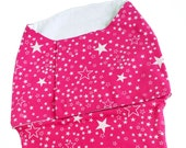 Eco Friendly pink cotton Swaddle Wrap for Babies - Stars print - newborn wrap, Baby girl sleepsack