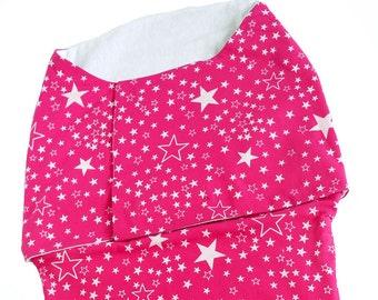 Eco Friendly pink cotton Swaddle Wrap for Babies - Stars print - newborn wrap, Baby girl sleepsack