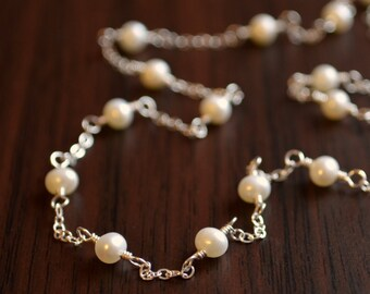 White Pearl Necklace, Flower Girl Jewelry, Sterling Silver, Freshwater Pearls, Child, Delicate and Dainty, Wire Wrapped, June Birthday