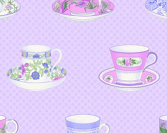 Sausalito Cottage - Packed Teacups in Periwinkle by Holly Holderman for Lakehouse Drygoods