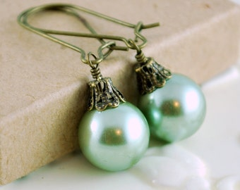 Christmas Earrings, Mint Green Glass Pearl, Antiqued Brass Kidney Earwires, Holiday Jewelry, Free Shipping