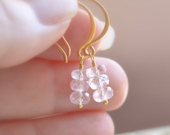 Blush Pink Earrings, Aquamarine Gemstone, Beryl, Drops, Gold Jewelry, March Birthstone, Free Shipping