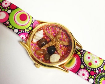 Pink & Green Circle Design  Recycled/Upcycled  Beach Watch