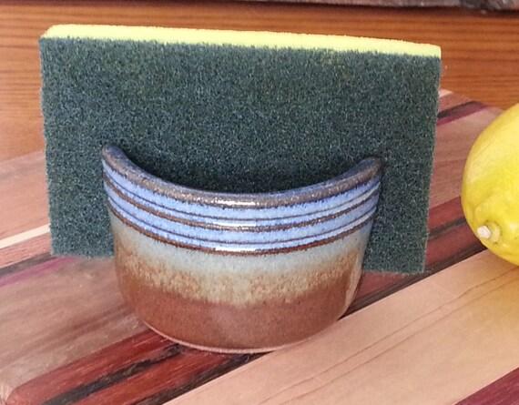 Sponge Holder Rustic Striped Cobalt Blue Iron Red Handmade Ceramic