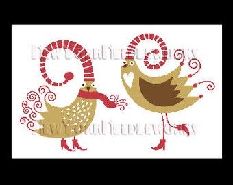 Birds Cross Stitch Pattern, Christmas Birds, Winter Birds, Cross Stitch, Birds Group, Christmas Cross Stitch, Winter Cross Stitch, Birds