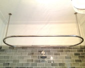 Hand Made Stainless Steel Shower Curtain Rod with Ceiling Supports by VinTin