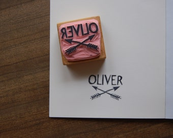 Custom Name and Crossed Arrows Stamp 1.5 inches - Small, Simple Rubber Stamp with Any Name