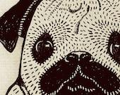 Personalized Pug Portrait Art 5x7 print, custom pet portrait art, dog illustration