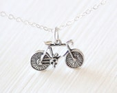 Sterling Silver Bike Necklace - simple outdoor everyday jewelry