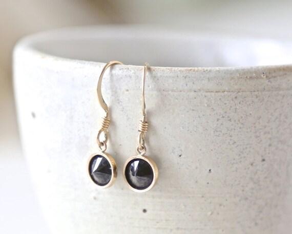 Black Night - 14K Gold Filled Dangle Earrings