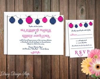 Wedding Invitation - Paper Lanterns - Invitation and RSVP Card with Envelopes