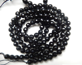 6mm Black Onyx faceted round beads, full strand
