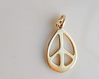 Gold Vermeil peace  pendant.  oval,gold plated over sterling silver,  (24x11mm), Gold plated over sterling silver