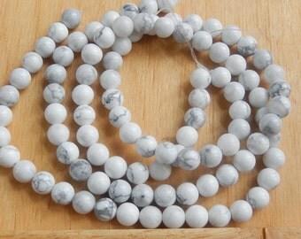 8mm  Howlite round beads , FULL STRAND