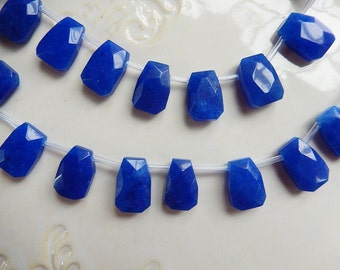 6 pcs Navy blue jade faceted flat nugget glass briolettes  (18-19x13-14mm),