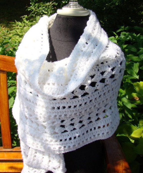 Winter white hand crocheted shawl wrap with diamond pattern stitching-READY TO SHIP