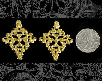 Set of Two Large Raw Brass Floral Ornate Diamond Filigree for Cameo Setting  *B-W30