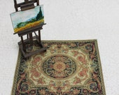 Dollhouse Miniature French Aubusson Rug  In Black Rust Gold and Sage