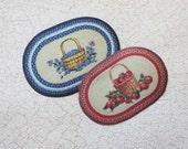 Dollhouse Miniature Rug Oval Braided Look Your Choice Apple or Blueberry Basket Design