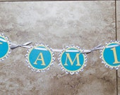 Owl Themed Birthday or Shower Banner- I am 1- teal yellow grey chevron