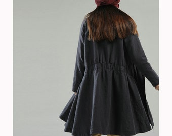 Free Style Linen Dress Coat/ Lovely Pleated Long Jacket/ 9 Colors/ RAMIES