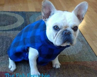 French Bulldog Blue and Black Checked Fleece Pullover Jacket with Stand Up Collar